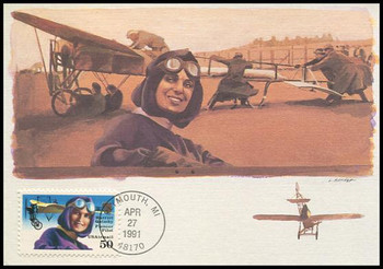 C128 / 50c Harriet Quimby Airmail 1991 Fleetwood First Day of Issue Maximum Card