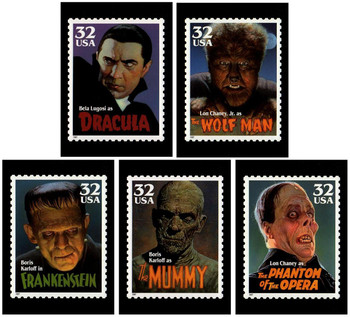 Classic Movie Monsters Stamps 1997 Set of 5 Collectible Postcards