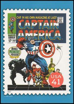 Captain America Comic Book Cover Marvel Comics Super Heroes Stamp Collectible Jumbo Postcard