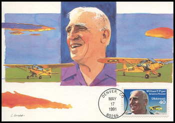 C129 / 40c William Piper Airmail Aviation Pioneers Series 1991 Fleetwood First Day of Issue Maximum Card