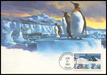 C130 / 50c Antarctic Treaty Airmail 1991 Fleetwood First Day of Issue Maximum Card