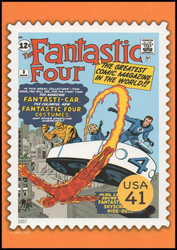 The Fantastic Four Comic Book Cover Marvel Comics Super Heroes Stamp Collectible Jumbo Postcard