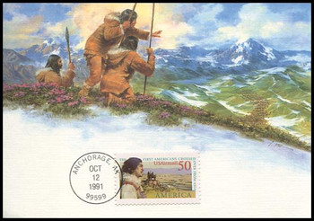 C131 / 50c Eskimo and Bering Land Bridge Airmail Americas Series 1991 Fleetwood First Day of Issue Maximum Card