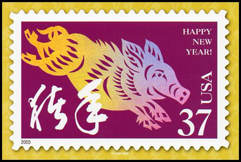 Year of the Boar - Chinese Lunar New Year Collectible Postcard