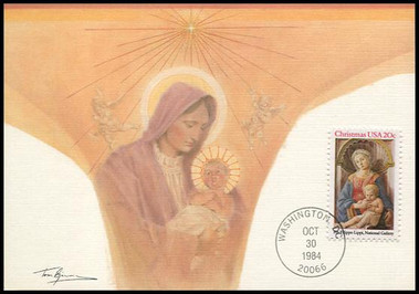 2107 / 20c Madonna and Child by Fra Filippo Lippi : Christmas Series 1984 Fleetwood Maximum Card