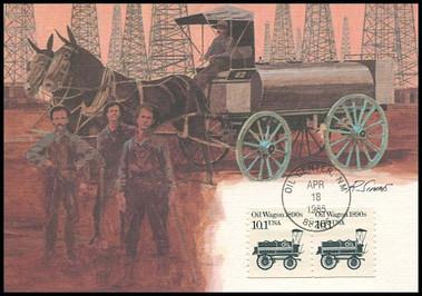 2130 / 10.1c Oil Wagon 1890s Coil Pair : Transportation Series 1985 Fleetwood Maximum Card