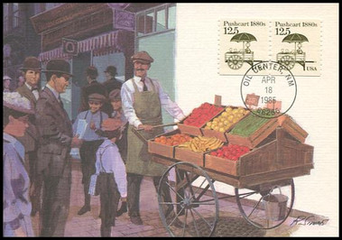 2133 / 12.5c Pushcart 1880s Coil : Transportation Series 1985 Fleetwood Maximum Card