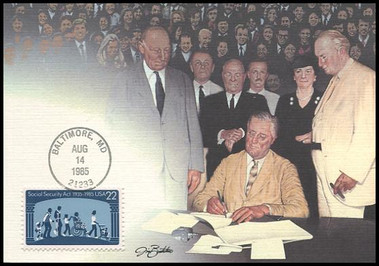2153 / 22c Social Security Act : 50th Anniversary 1985 Fleetwood Maximum Card