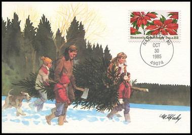 2166 / 22c Poinsettia Plants : Christmas Series 1985 Fleetwood  Maximum Card