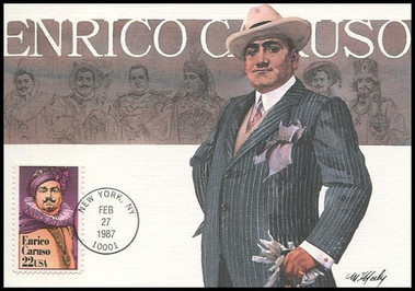 2250 / 22c Enrico Caruso Performing Arts Series 1987 Fleetwood First Day of Issue Maximum Card