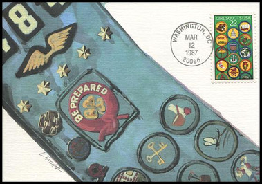 2251 / 22c Girl Scouts 1987 Fleetwood First Day of Issue Maximum Card