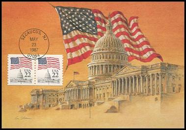 2115b / 22c Flag over the Capitol Coil Pair 1987 Fleetwood Maximum Card