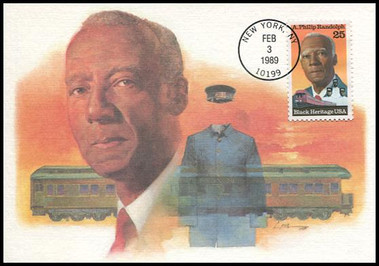2402 / 25c A. Philip Randolph Black Heritage Series 1989 Fleetwood First Day of Issue Maximum Card