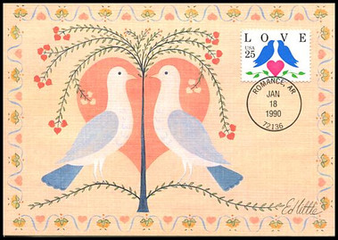 2440 / 25c Lovebirds and Heart Love Series 1990 Fleetwood First Day of Issue Maximum Card
