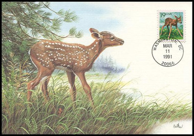 2479 / 19c Fawn 1991 Fleetwood First Day of Issue Maximum Card