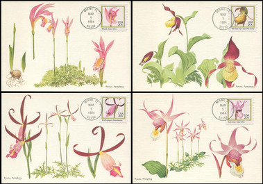 2076 - 2079 / 20c Orchids Set of 4 Fleetwood 1984 Maximum Card