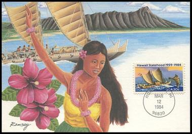 2080 / 20c Hawaii Statehood : Statehood Series 1984 Fleetwood Maximum Card