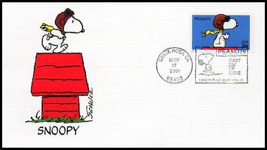 3507 / 34c Peanuts : Snoopy Set of 5 Fleetwood 2001 FDCs