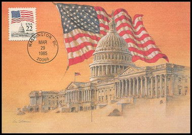 2115 / 22c Flag over the Capitol 1985 Fleetwood Maximum Card