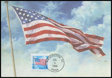 2285a / 25c Flag With Clouds 1988 Fleetwood First Day of Issue Maximum Card