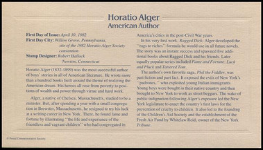 2010 / 20c Horatio Alger : American Author Gold Replica 1982 Postal Commemorative Society FDC with Info Card