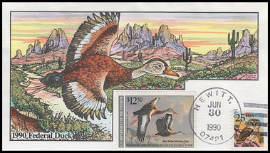 RW57 / $12.50 Black Bellied Whistling Duck : Federal Duck Stamp 1990 Collins Hand Painted Cover