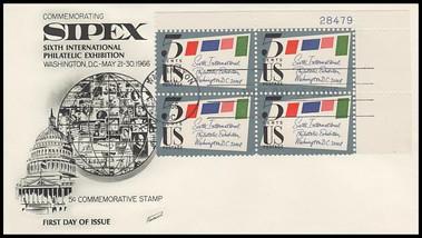 1310 / 5c Sipex Plate Block Upper Right 1966 Fleetwood FDC