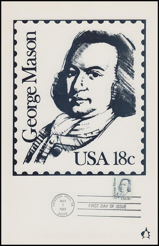 1858 / 18c George Mason : Great Americans Series 1981 Andrews Cachet Maxi Card FDC