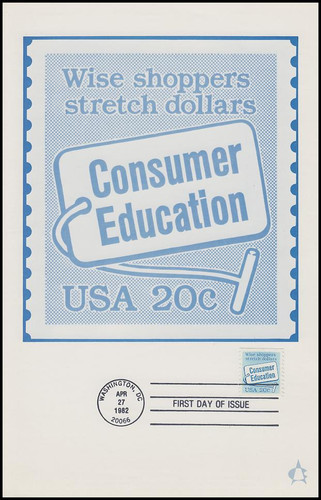 2005 / 20c Consumer Education Coil 1982 Andrews Cachet Maxi Card FDC