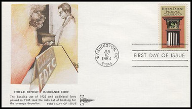 2071 / 20c Federal Deposit Insurance Corp. Gill Craft 1984 First Day Cover