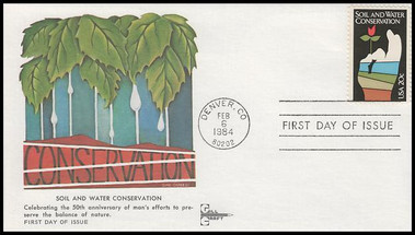 2074 / 20c Soil and Water Conservation Gill Craft 1984 First Day Cover