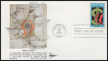 2075 / 20c Credit Union Act Gill Craft 1984 First Day Cover