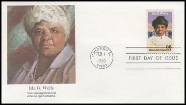 2442 / 25c Ida B. Wells : Black Heritage Series 1990 Fleetwood First Day Cover