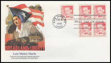 2173 / 5c Luis Muñoz Marin : First Govenor of Puerto Rico : Great Americans Series 1990 Fleetwood FDC