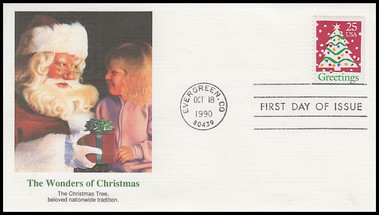 2516 / 25c Christmas Tree Booklet Single : Christmas Series 1990 Fleetwood First Day Cover