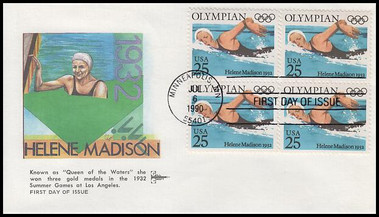 2496 - 2500 / 25c Olympians Blocks Set of 5 Gill Craft 1990 First Day Covers