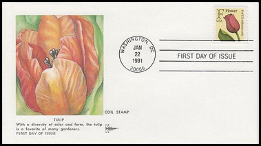 """2518 / 29c Tulip """"F"""" Rate Change Coil Gill Craft 1991 First Day Cover"""