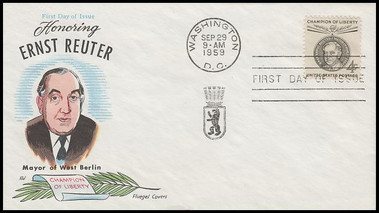 1136 / 4c Ernst Reuter : Champions of Liberty 1959 Fluegel First Day Cover