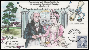 2875 / $2 Bureau of Engraving and Printing 1994 Collins Hand-Painted FDC