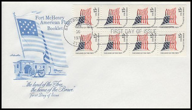 1598a / 15c Fort McHenry Flag : Americana Series Booklet of 8 Artmaster 1978 First Day Cover