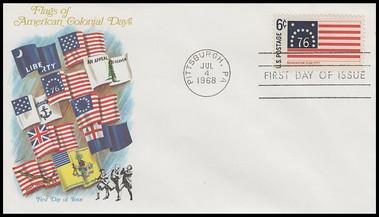1345 - 1354 / 6c Historic American Flags Set of 10 Fleetwood 1968 FDCs