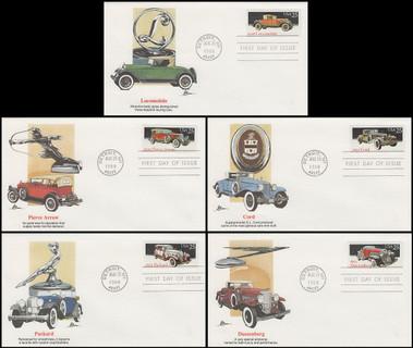 2381 - 2385 / 25c Classic Cars Set of 5 Artist John Benson Fleetwood 1988 FDCs