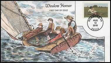 4473 / 44c Winslow Homer : American Treasures Series 2010 Collins Hand-Painted FDC
