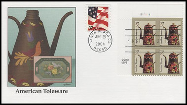 3750A / 5c American Toleware : American Design Series Plate Block 2004 Fleetwood FDC
