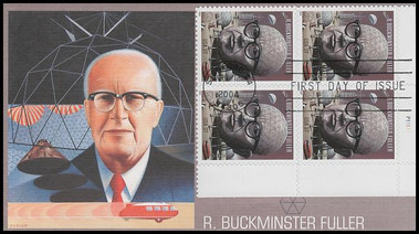3870 / 37c R. Buckminster Fuller PSA Plate Block 2004 Fleetwood FDC