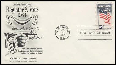 1249 / 5c Register and Vote 1964 Fleetwood First Day Cover