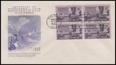 0954 / 3c California Gold Rush Centennial Block Grimsland 1948 First Day Cover
