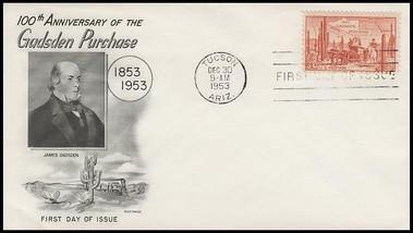 1028 / 3c Gadsen Purchase Centennial Fleetwood 1953 FDC #2