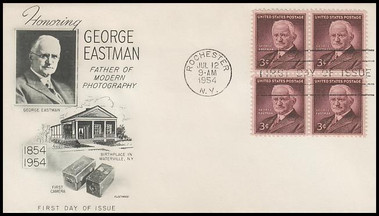 1062 / 3c George Eastman : Father of Modern Photography Block of 4 Fleetwood 1954 FDC