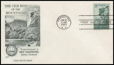 1068 / 3c Old Man of the Mountain Sesquicentennial Fleetwood 1955 First Day Cover